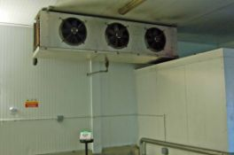 Two ECO COILS AND COOLERS Stainless Steel Clad Ceiling mounted Triple Fan Chiller Evaporator