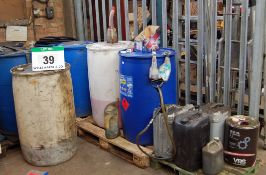 Seven Various Plastic Drums (205-Litres) with Contents each including Screen Wash and Five Various