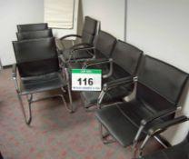 Seven Black Leatherette Upholstered Cantilever Elbow Chairs, A Black Leatherette Upholstered