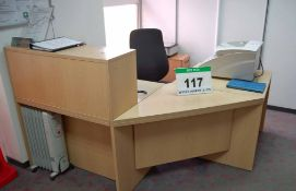 A Light Oak Effect 4-Piece Reception Right Angled Workstation, A Cherry Effect 3-Drawer Filing