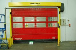 Two NERGECO/BERNOS FS2 High Speed Roller Curtain Internal Doors, each 3M x 3M Wide Aperture and 2.
