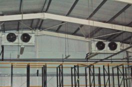 Four SEARLE Ceiling mounted Twin Fan High Volume Chiller Evaporator Units (THIS LOT IS USE