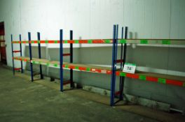 Six Bays of Orange/Blue Steel 2-Tier Boltless Parts Racks, each Approx. 2M x 0.5M x 2M Tall and