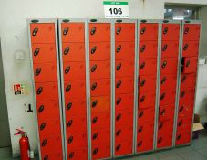 Seven PROBE Red/Grey Steel 8-Compartment Personnel Lockers (NOTE: No Keys held for Locks)