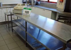 A 96 inches x 24 inches Stainless Steel 3-Tier Food Preparation Table, A 65cm x 50cm Stainless Steel