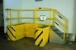 A Yellow/Black Steel Portable Loading Platform with Steel Checkerplate Steps, Walkway and Safety