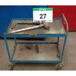 Lot 27 - A Steel Framed 2-Tier Trolley, A Steel Lump Hammer and A Heavy Duty Wheel Nut Wrench