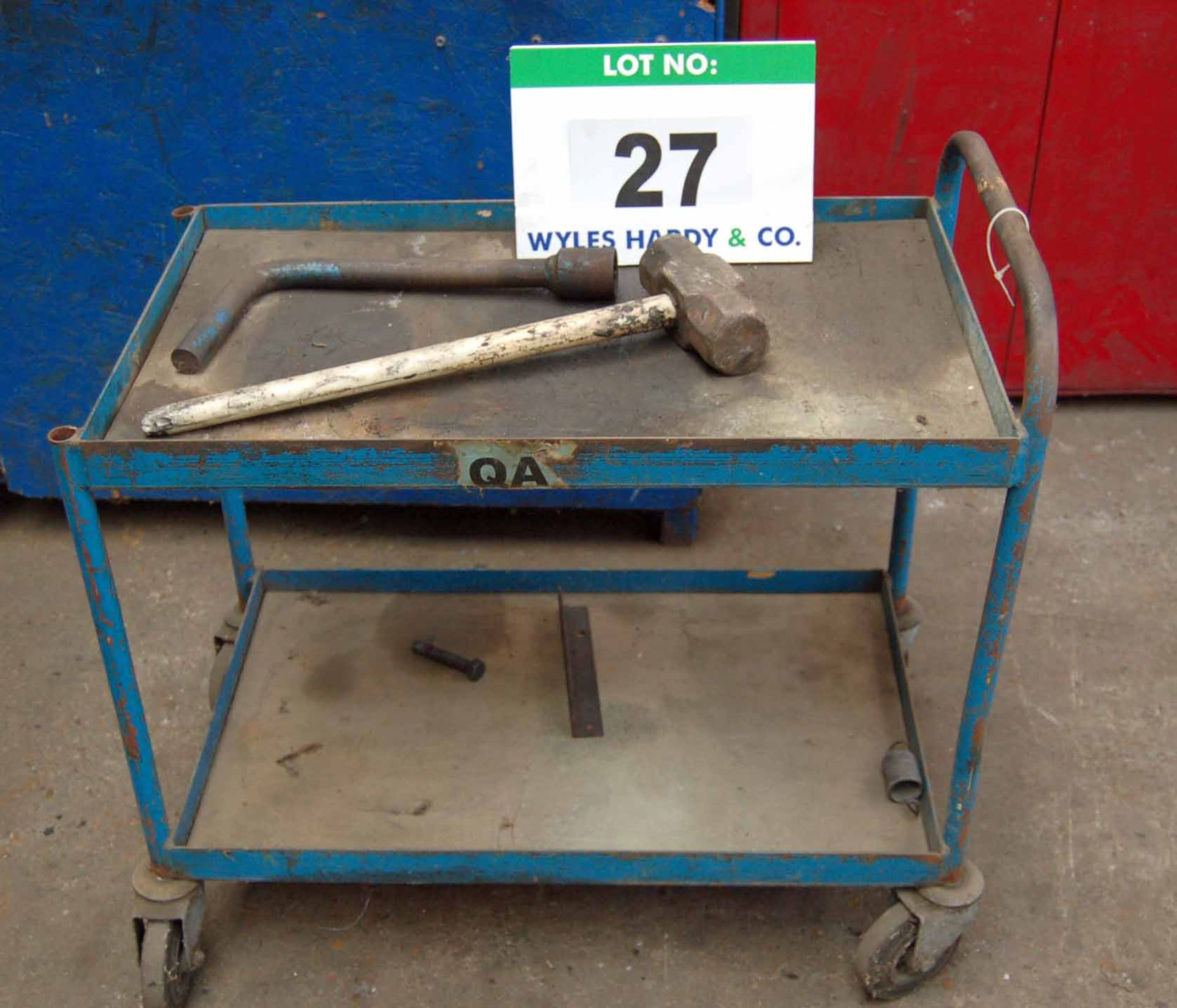 Lot 27 - A Steel Framed 2-Tier Trolley, A Steel Lump Hammer and A Heavy Duty Wheel Nut Wrench