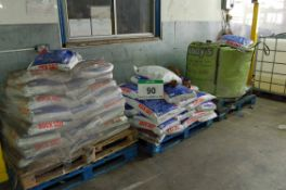 Four 1-Tonne Bags of Rock Salt, each on a Pallet, and Five Pallets with a Total of Approx. One