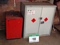 A Grey Steel 2-Door Flammables Cabinet and A Red Steel Cabinet