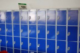 Twenty Grey/Blue Steel 4-Compartment Personnel Lockers (NOTE: No Keys held for Locks) (Located First