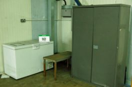 A Grey Steel 2-Door Cupboard, An Approx. 100cm x 46cm Steel Framed Bench/Low Table and A White