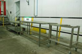 An Approx. 200cm x 75cm Stainless Steel Table with Under Shelf, An Approx. 72 inches x 30 inches