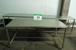 An Approx. 72 inches x 24 inches Stainless Steel Topped Table, An Approx. 60 inches x 24 inches