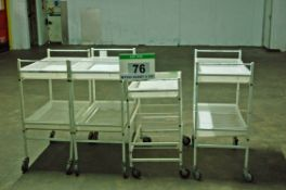 Three Various White Steel 2-Tier Trolleys with Seven White Polypropylene Trays