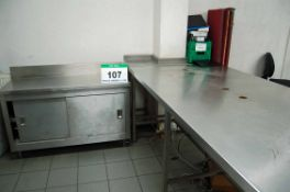 Two Approx. 315cm x 120cm Stainless Steel Tables each with Eight Holes in Worktop and An Approx.