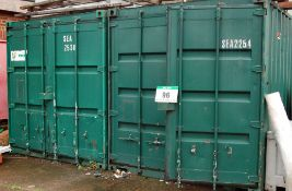 Two 20ft Long Green Steel Ship's Containers (NOTE: Needs a Method Statement and a Risk Assessment