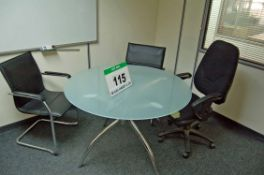A 110cm dia. Glass Topped Circular Table, Two Black Leatherette Upholstered Cantilever Elbow Chairs,