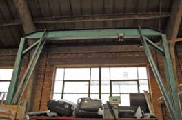 A Mobile Steel A-Framed Overhead Crane, Approx. 2.5M Span, 3.8M Fall with MORRIS 1-Ton capacity