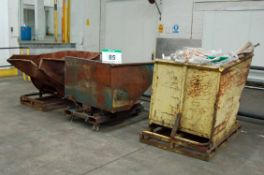 Three Badly Dented Steel Forklift Tipping Skips