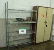 A Steel Wire 4-Tier Rack and A Coffee and Cream Steel 2-Door Cupboard
