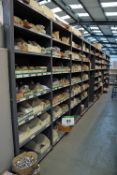 Eleven Bays of Parts Racking with Contents including Fixings, Cabinet Hardware, Copper Pipe and