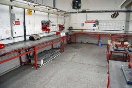 A Six Bay Welded Steel Workbench System with fitted Vice, Overhead Lighting where fitted, Four