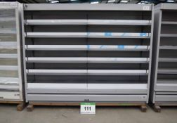 A VERCO 2500mm x 2035mm Multideck Chiller Cabinet (Unused) and Shelving Units (As Photographed)