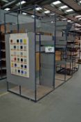 A 2.8M x 2.5M x 1.2M Welded Steel Double Sided Parts/Stock Rack (As Photographed)