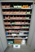 A Grey Steel 2-Door Consumables Cabinet with Contents including Hand Tools and PPE (As