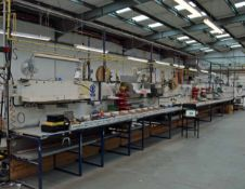 An Approx. 22-Metre Double Sided Assembly Workstation with Overhead Gantry Supply to 6 Welding