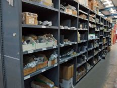 Ten Bays of Parts Racking with Contents including Cooling Fan Blades, Lighting Transformers, Control