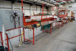 A Six Bay Welded Steel Assembly Bench with Overhead Gantry, fitted Vice and Gas Welding Solder