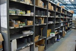 Ten Bays of Parts Racking with Contents including Insulation and Foam Tapes, Welding Rods, PPE,