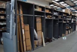 Eleven Bays of Parts Racking with Contents including Chiller Cabinet Blinds, Evaporating Trays,