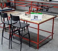 A Welded Steel Assembly Table with Rotating Workpiece Jig, Two Stools and Side Table (As