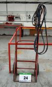 A Twin Bottle Gas Bottle Trolley, Regulators, Hoses and Hand Held Torch (As Photographed)