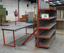 A Quantity of Works Furniture including Two Welded Steel Work Benches and A 5-Tier Welded Steel