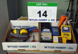 Two Boxes of Hand Tools and Test Equipment (As Photographed)