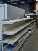 Seven Bays of Adjustable Height Display Shelving and matching Gondola, each Bay 1300mm wide x 1800mm
