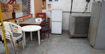 A Break-Out Area including A CREDA Fridge/Freezer, 3-Door Employee Locker, Kitchen Table and 5-Piece