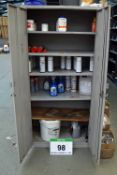 A Grey Steel 2-Dor Consumables Cabinet with Contents including Solvents, Paints and Lubricants (As