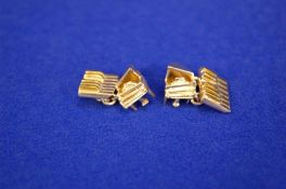 A Pair of White Metal and Gilt Double Linked Cufflinks, Piano and Keyboard Design