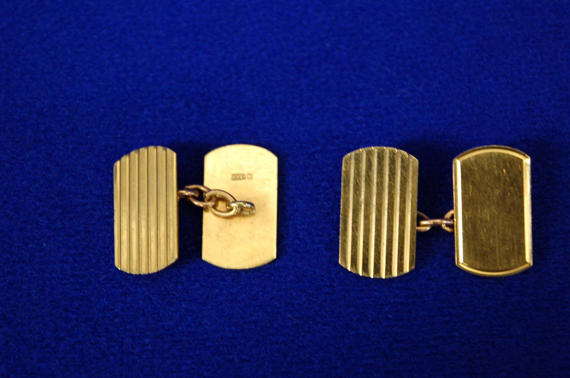 Lot 8 - A Pair 9ct Gold Men's Double Linked Cufflinks of Oblong Form with Radiused Corners with Engraved