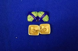 A Pair of Blue and Green Enamel Linked Cufflinks of Square Form