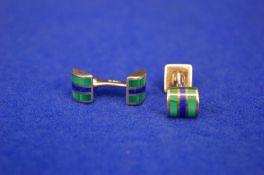 A Pair of Sterling Silver, Green & Blue Enamel Bar Type Cufflinks