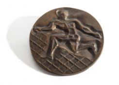 A Cast Bronze Medal PEUGEOT World Cup Rochus Club Dussledorf May 1989, 1st Place in Relief,
