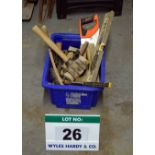 Lot 26 - A Plastic Storage Container with An Assortment of Various Hand Tools