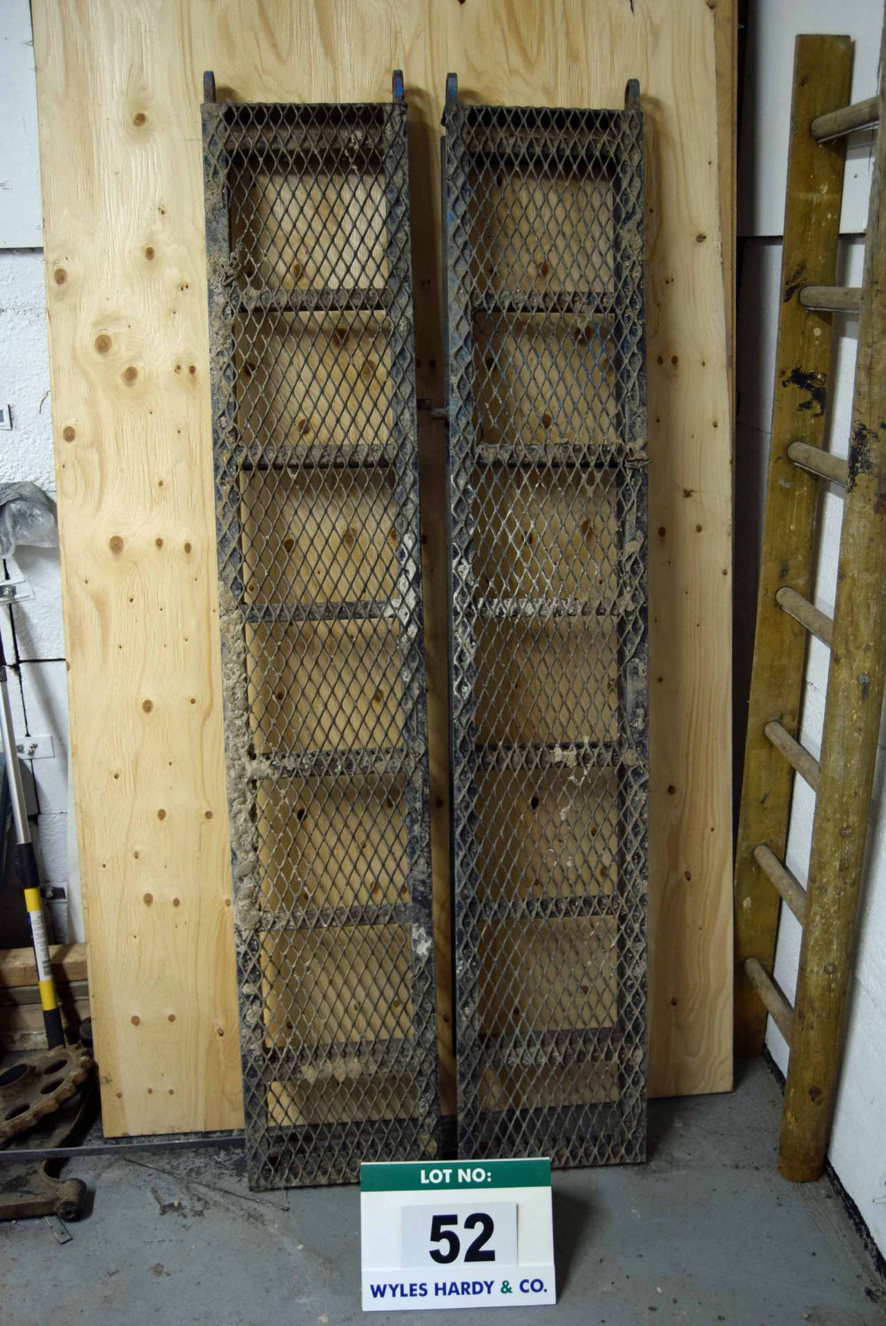 Lot 52 - A Pair of 6ft x 13.5 Inch Steel Framed Mesh Topped Plant Trailer Ramps