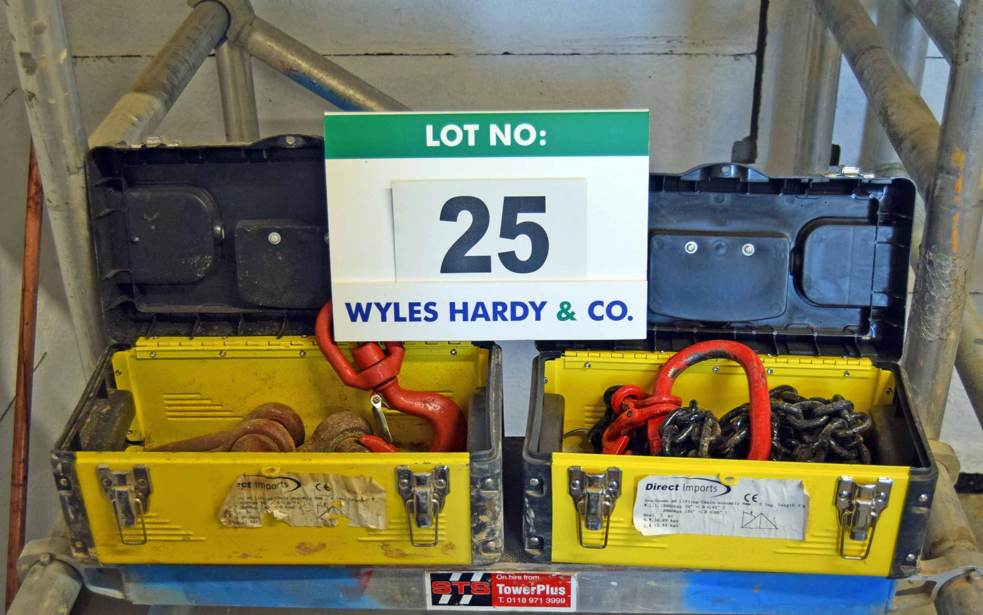 Lot 25 - Two Plastic Tool Boxes containing One 2-Leg 2.8T rated capacity Lifting Chain Set with fitted